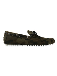 Car Shoe Camouflage Print Loafers Green