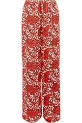 Michael Michael Kors Printed Satin Wide Leg Pants Red