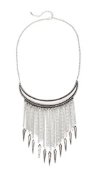 Jules Smith Designs Statement Bear Claw Fringe Necklace Silver