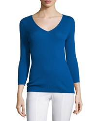 Michael Kors 3 4 Sleeve V Neck Cashmere Top Cobalt Women's