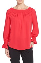Women's Kobi Halperin 'London' Silk Peasant Blouse Hibiscus