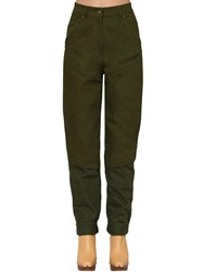 Jacquemus High Waist Straight Cotton Denim Pants Green