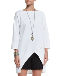St. John Milano Knit Crossover Front Top Bianco