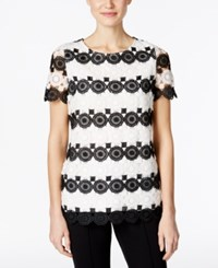 Charter Club Striped Lace Top Only At Macy's Deep Black