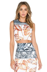 Clover Canyon Gold Leaf Crop Top White