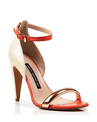 French Connection Ankle Strap Sandals Nanette High Heel Orange Pink Rosegold