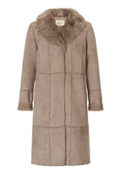 Betty Barclay Faux Sheepskin Coat Cream