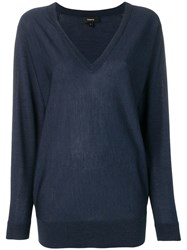 Theory Navy Knitted Jumper Blue