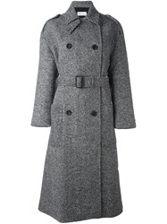 Red Valentino Double Breasted Belted Coat Black