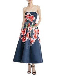David Meister Strapless Fit And Flare Floral Dress W Pockets Navy Pink