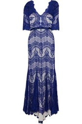 Catherine Deane Kelly Satin Trimmed Corded Lace Gown Cobalt Blue