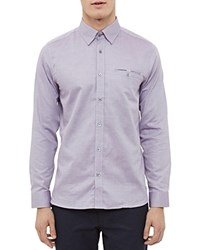 Ted Baker Thefunk Oxford Regular Fit Button Down Shirt Purple