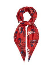 Vetements Spiderman Print Silk Scarf Red