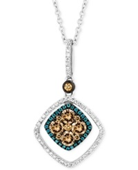 Le Vian Chocolate And White Diamond 5 8 Ct. T.W. And Blue Diamond Accent Pendant Necklace In 14K White Gold