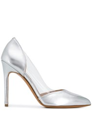 Albano Metallic Pointed Pumps Silver