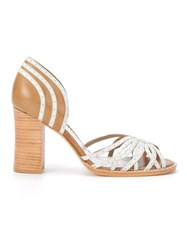 Sarah Chofakian Bicolor Heeled Sandals Brown