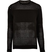 River Island Mens Black Mesh Knit Jumper