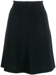 Red Valentino Scallop Trim Skirt Black