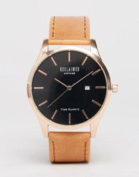 Reclaimed Vintage Leather Watch In Brown And Rose Gold Brown