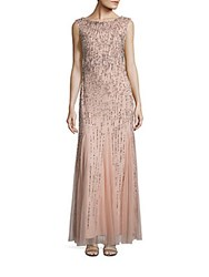 Adrianna Papell Beaded Chiffon Gown Blush