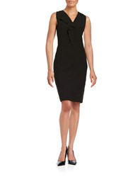 T Tahari Ruffle Accented Sheath Dress Black