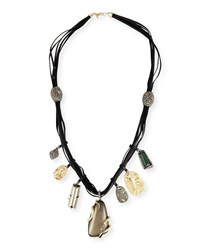 Alexis Bittar Long Charm Necklace W Suede Cord Gray