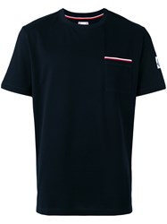 Moncler Gamme Bleu Striped Chest Pocket T Shirt Blue
