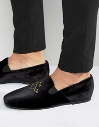 Hudson London Velvet Loafers Black