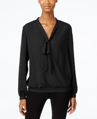 Ny Collection Tie Neck Faux Wrap Top Black