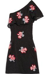 Noir Sachin And Babi Anita One Shoulder Embroidered Checked Mousseline Dress Black