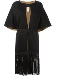 Agnona Fringed Short Sleeve Coat Black