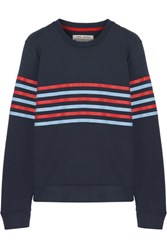 Tory Sport Striped French Cotton Terry Sweatshirt Navy