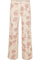 Aries Floral Print High Rise Straight Leg Jeans Pink