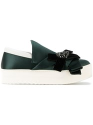 N 21 No21 Embellished Bow Slip On Sneakers Leather Polyester Rubber Green