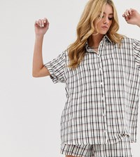 Milk It Vintage Oversized Shirt In Check Co White
