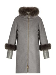 Herno Fur Trimmed Cashmere Coat Grey