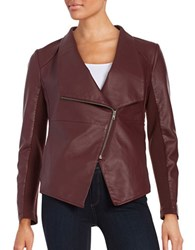 Bb Dakota Faux Leather Asymmetrical Zip Up Jacket Wine