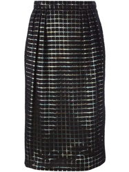 Marco De Vincenzo Square Embroidered Midi Skirt Black