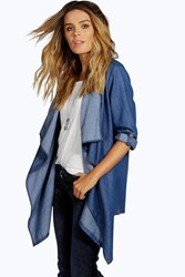 Boohoo Roll Sleeve Waterfall Denim Jacket Blue