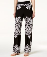 Inc International Concepts Petite Printed Wide Leg Pants Only At Macy's Black Swirls