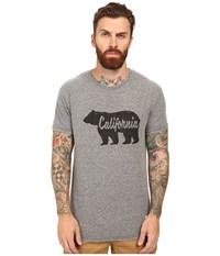 The Original Retro Brand Short Sleeve Tri Blend California Bear Script Tee Streaky Grey Men's T Shirt Pewter