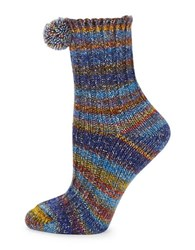 Free People Pom Pom Ribbed Striped Crew Socks Blue Combo