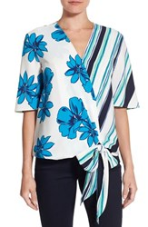 Halogenr Petite Women's Halogen Short Sleeve Wrap Front Blouse White Blue Stripe Floral