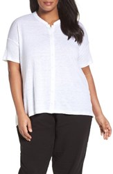 Eileen Fisher Plus Size Women's Organic Linen Jersey Mandarin Collar Top White