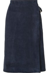 Adam By Adam Lippes Suede Wrap Skirt Navy