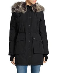 Bcbgeneration Sherpa Lined And Faux Fur Trimmed Hooded Parka Black