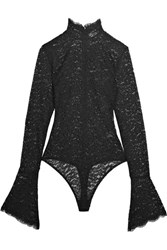 Alix Haven Corded Stretch Lace Bodysuit Black