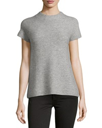 Neiman Marcus Cashmere Ribbed Short Sleeve Sweater Heather Gray