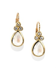 Temple St. Clair Royal Blue Moonstone Diamond And 18K Yellow Gold Teardrop Earrings