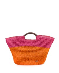 Capelli Of New York Cappelli Large Straw Market Tote Bag Orange Pink